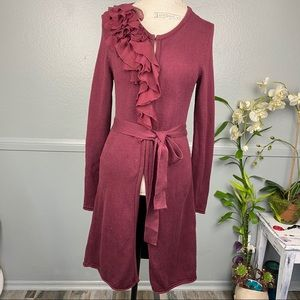 Elle long burgundy cardigan with ruffles Sz. S
